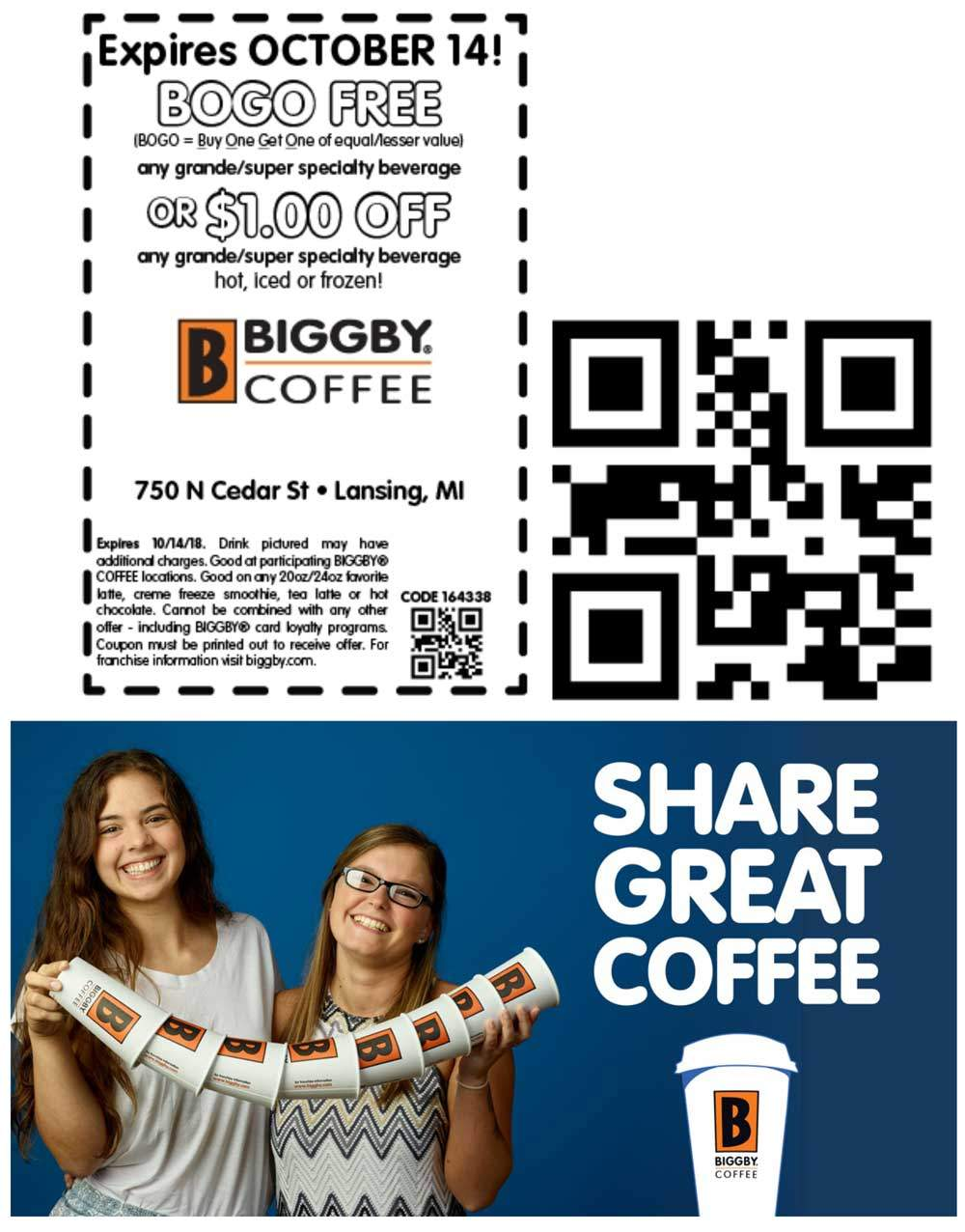 Biggby Coffee Coupon June 2019 Second beverage free at Biggby Coffee