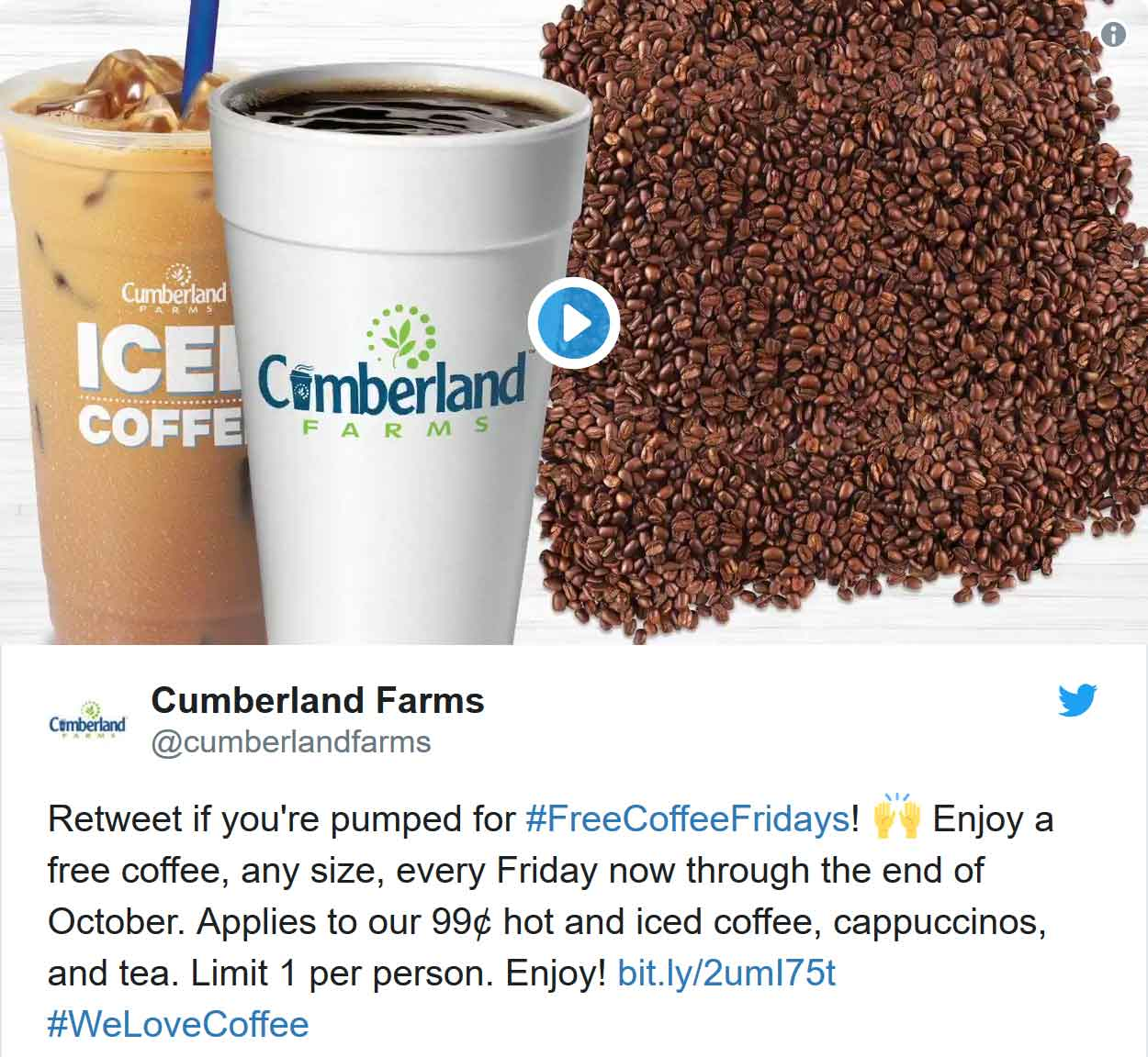 Cumberland Farms Coupon November 2019 Free coffee today at Cumberland Farms gas stations