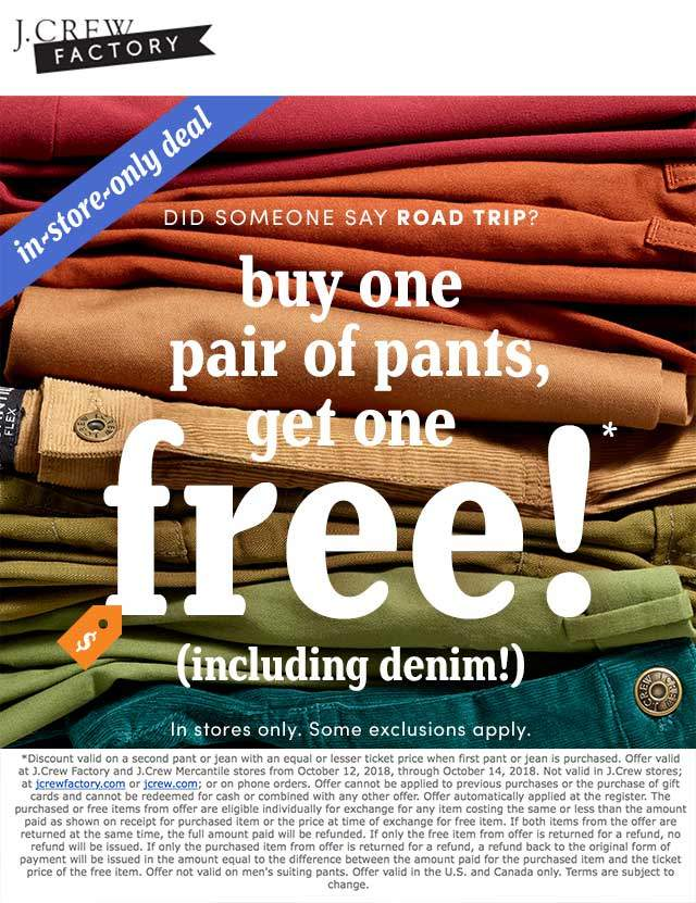 J.Crew Factory Coupon May 2019 Second pants free at J.Crew Factory