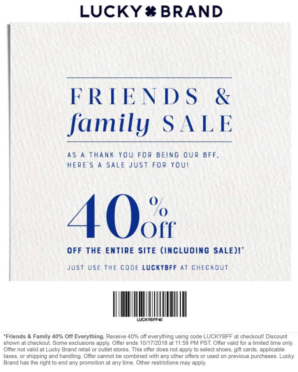Lucky Brand Coupon June 2019 Everything is 40% off at Lucky Brand, or online via promo code LUCKYBFF