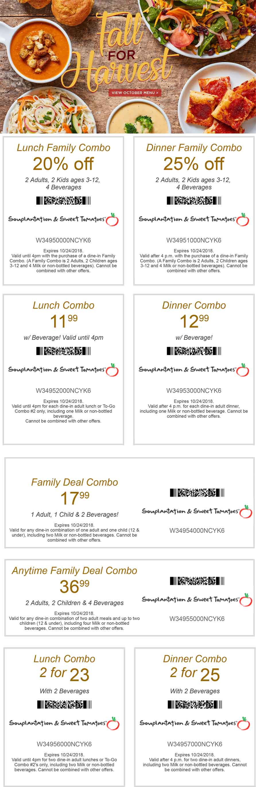 Sweet Tomatoes Coupon July 2019 20-25% off at Souplantation & Sweet Tomatoes restaurants
