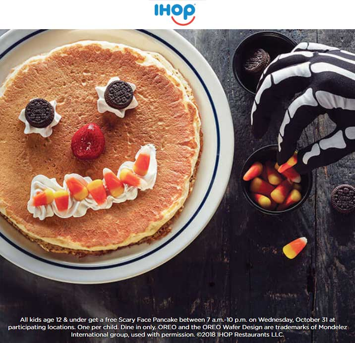 IHOP Coupon July 2019 Free scary face pancake for kids on Halloween at IHOP