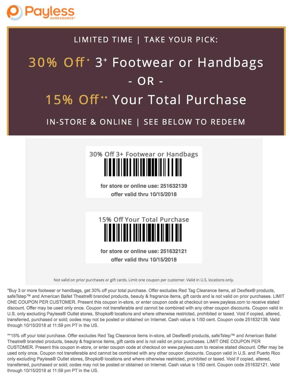 Payless Shoesource Coupon November 2019 15-30% off at Payless Shoesource, or online via promo code 251632121