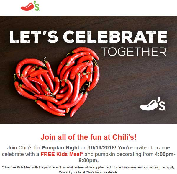 Chilis.com Promo Coupon Free kids meal & pumpkin decorating Tuesday 4-9p at Chilis