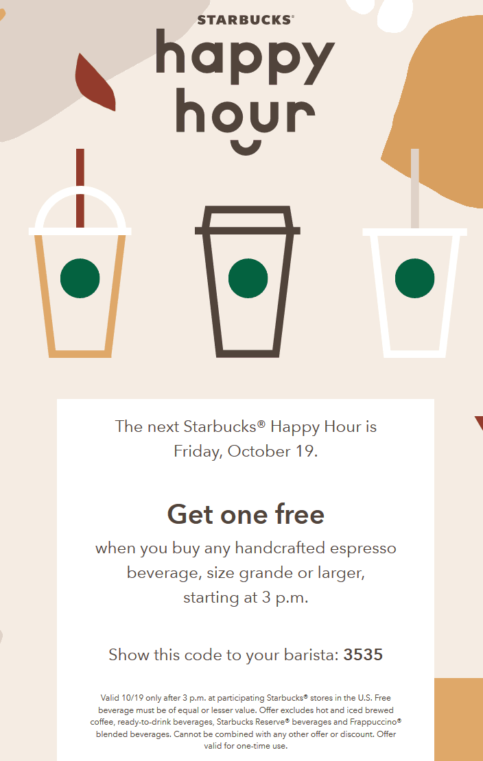 Starbucks Coupon May 2019 Second espresso free Friday at Starbucks