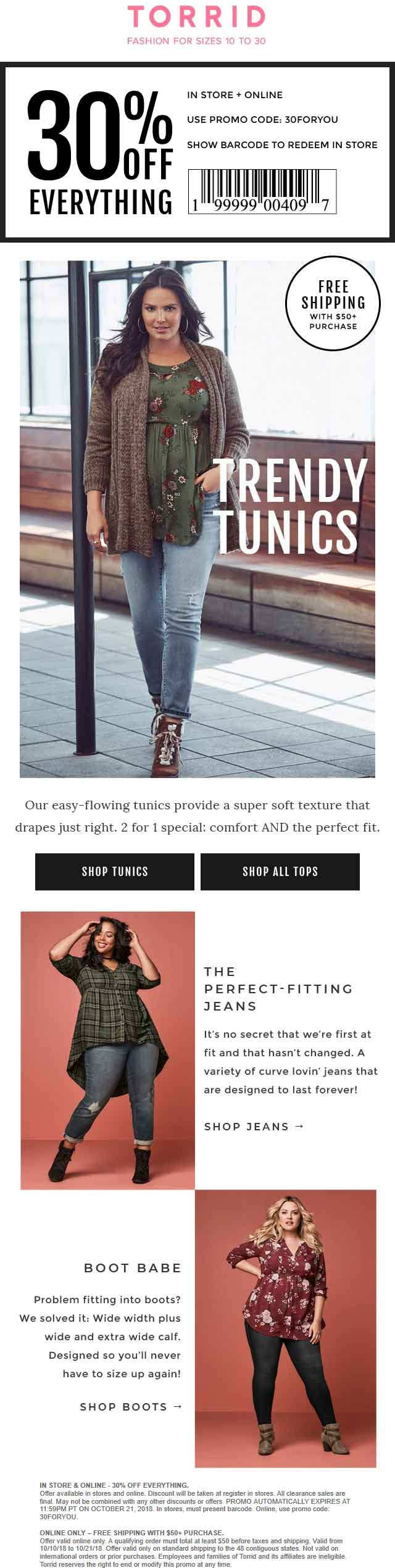 Torrid Coupon May 2019 30% off everything at Torrid, or online via promo code 30FORYOU