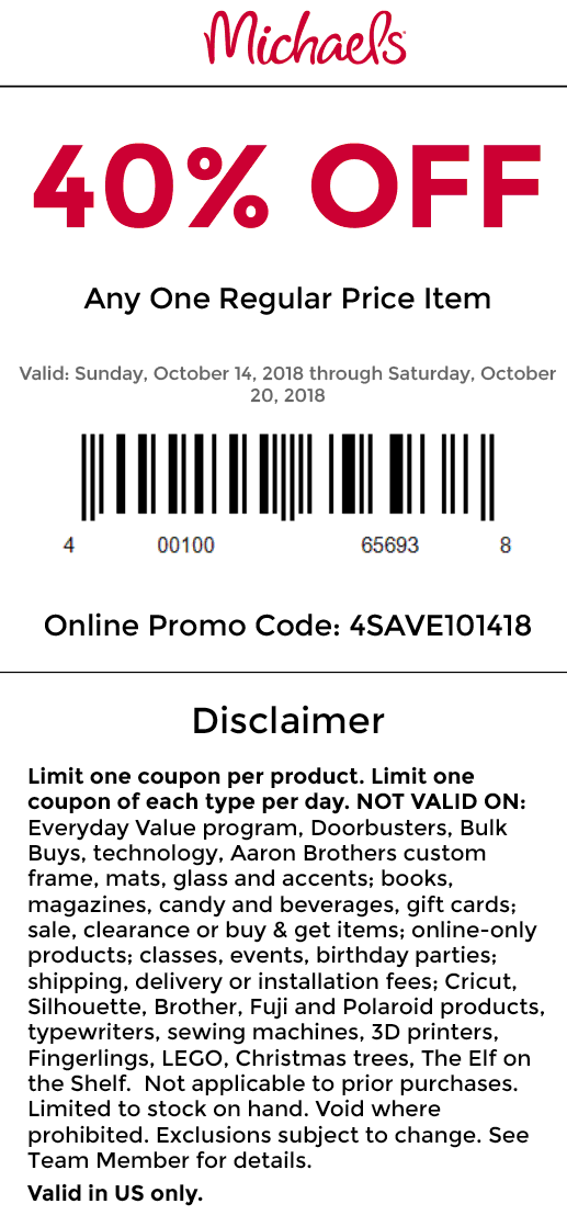 Michaels Coupon October 2019 40% off a single item at Michaels, or online via promo code 4SAVE101418
