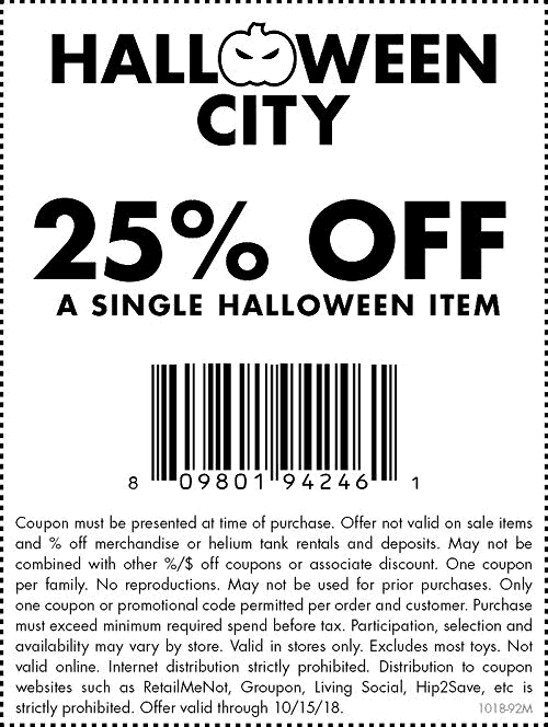 Party City Coupon July 2019 25% off a single halloween item at Party City, or 20% online via promo code SCARE20