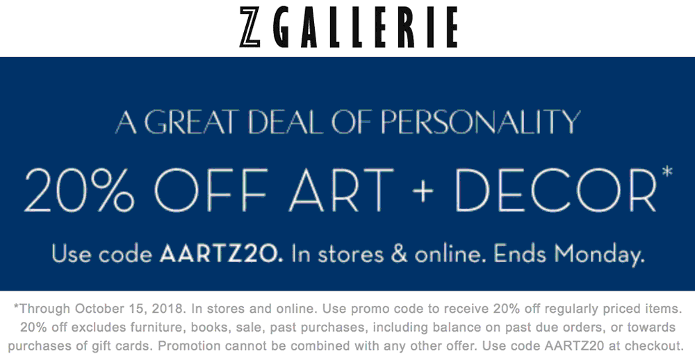 Z Gallerie Coupon November 2019 20% off art & decor today at Z Gallerie, or online via promo code AARTZ20