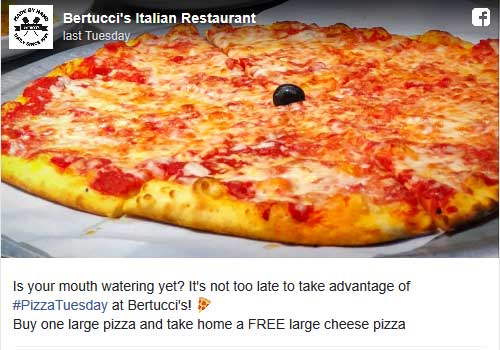 Bertuccis.com Promo Coupon Second large pizza free today at Bertuccis restaurants