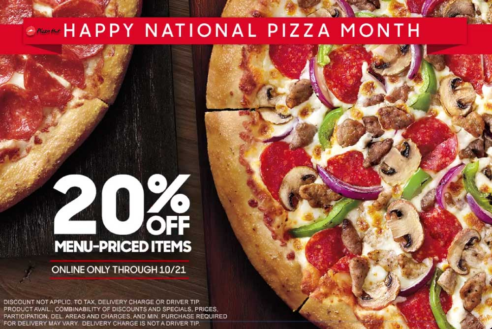 Pizza Hut Coupon May 2019 20% off online at Pizza Hut via promo code PIZZAMONTH20OFF