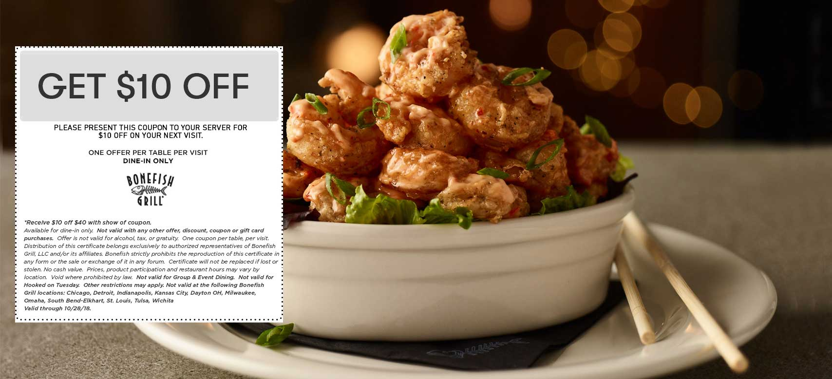 Bonefish Grill Coupon July 2019 $10 off $40 at Bonefish Grill restaurants