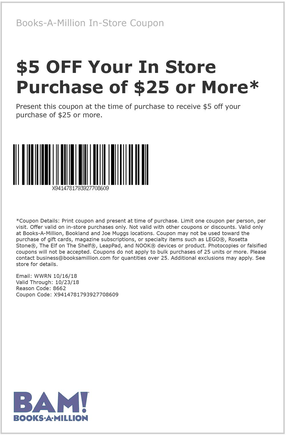 Books-A-Million Coupon November 2019 $5 off $25 at Books-A-Million
