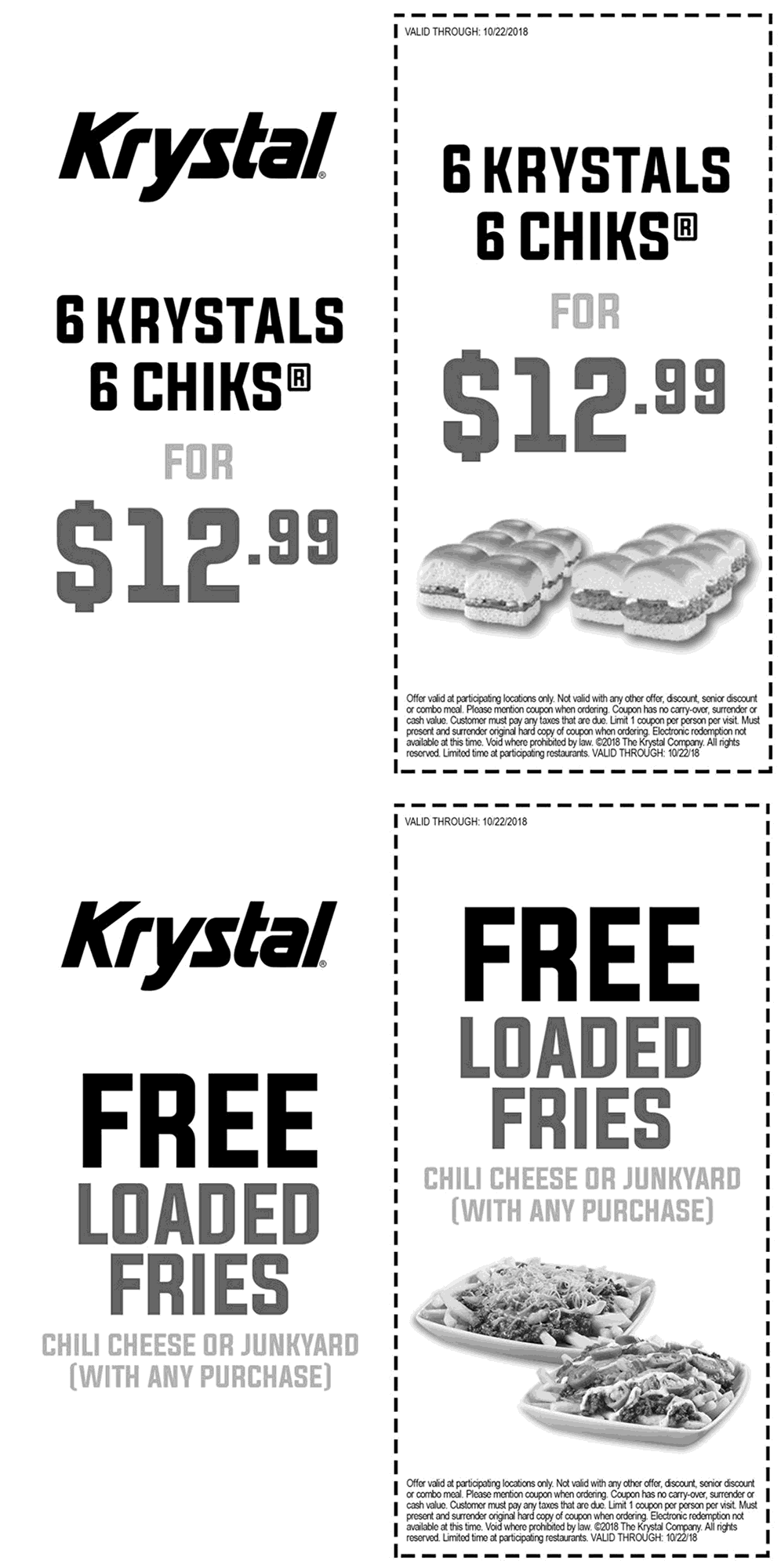 Krystal.com Promo Coupon Free loaded fries with any order at Krystal restaurants