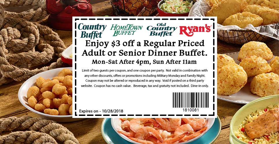 Old Country Buffet Coupon May 2019 $3 off dinner at Ryans, Hometown Buffet & Old Country Buffet