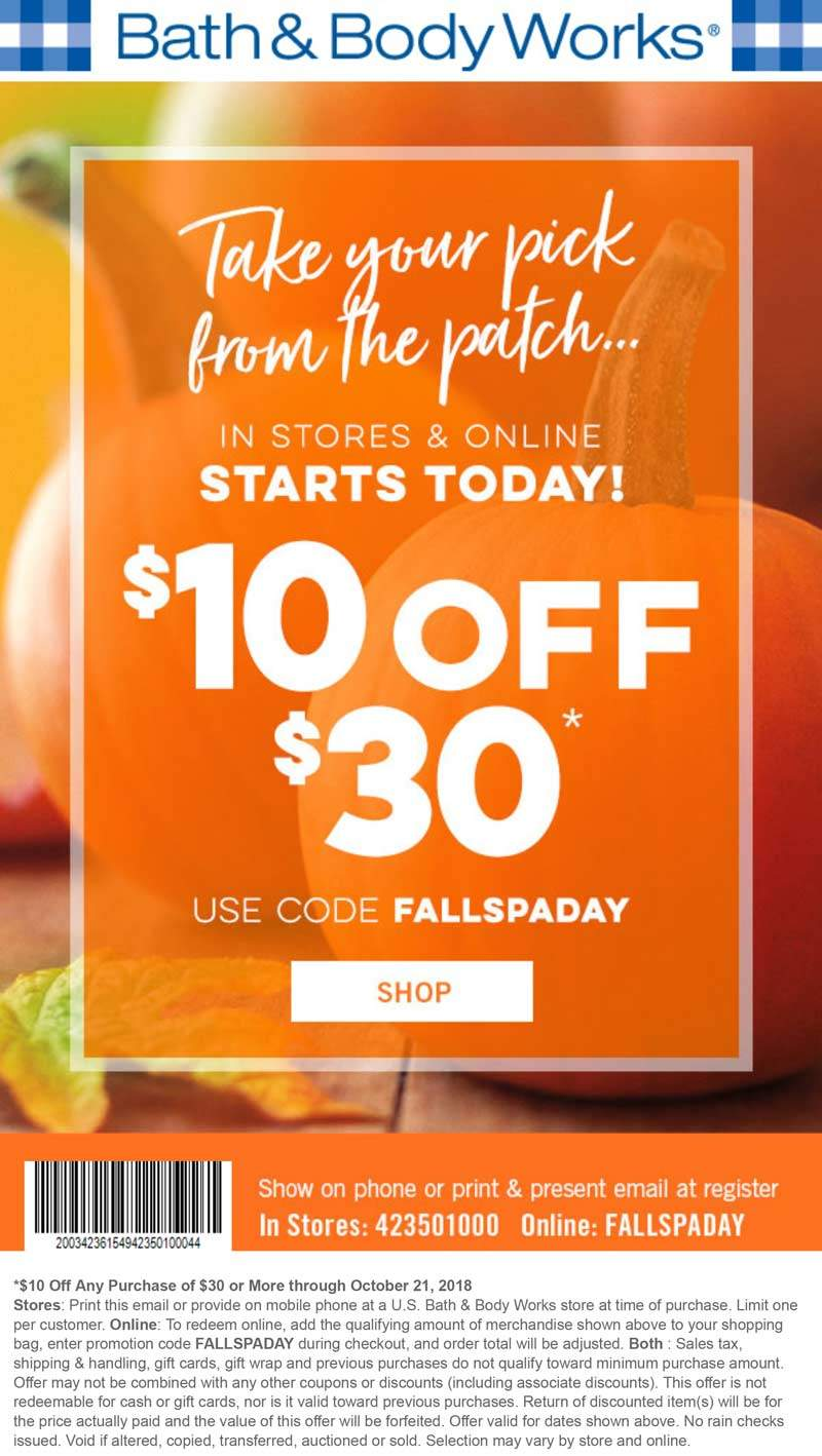 Bath & Body Works Coupon June 2019 $10 off $30 at Bath & Body Works, or online via promo code FALLSPADAY