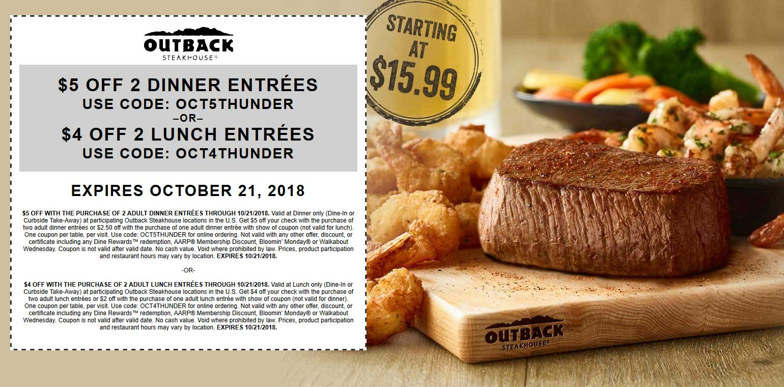 Outback Steakhouse Coupon May 2019 $4-$5 off at Outback Steakhouse restaurants