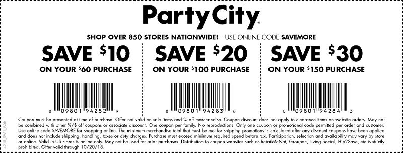 Party City Coupon August 2019 $10 off $60 & more at Party City, or online via promo code SAVEMORE