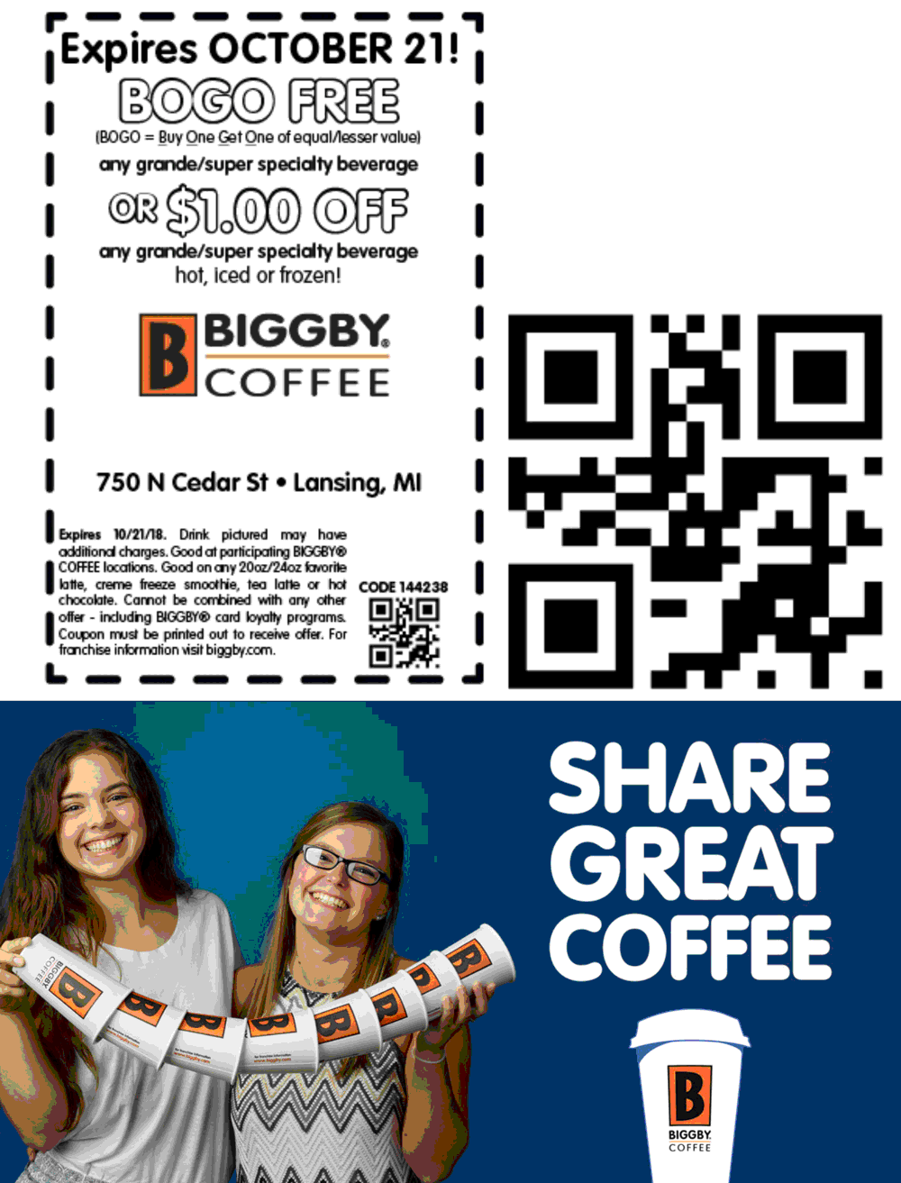 Biggby Coffee Coupon January 2020 Second beverage free at Biggby Coffee
