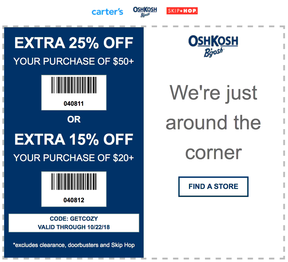 Carters Coupon September 2019 15-25% off at Carters & OshKosh Bgosh, or online via promo code GETCOZY