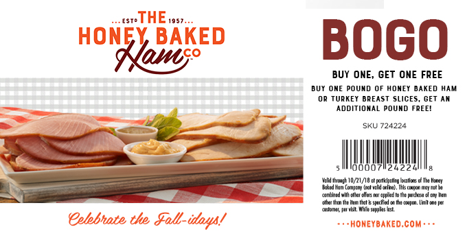 HoneyBaked.com Promo Coupon Second lb free at Honeybaked Ham restaurants