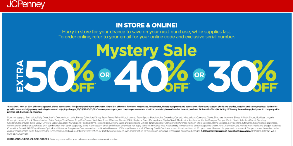 JCPenney.com Promo Coupon Extra 30-50% off at JCPenney