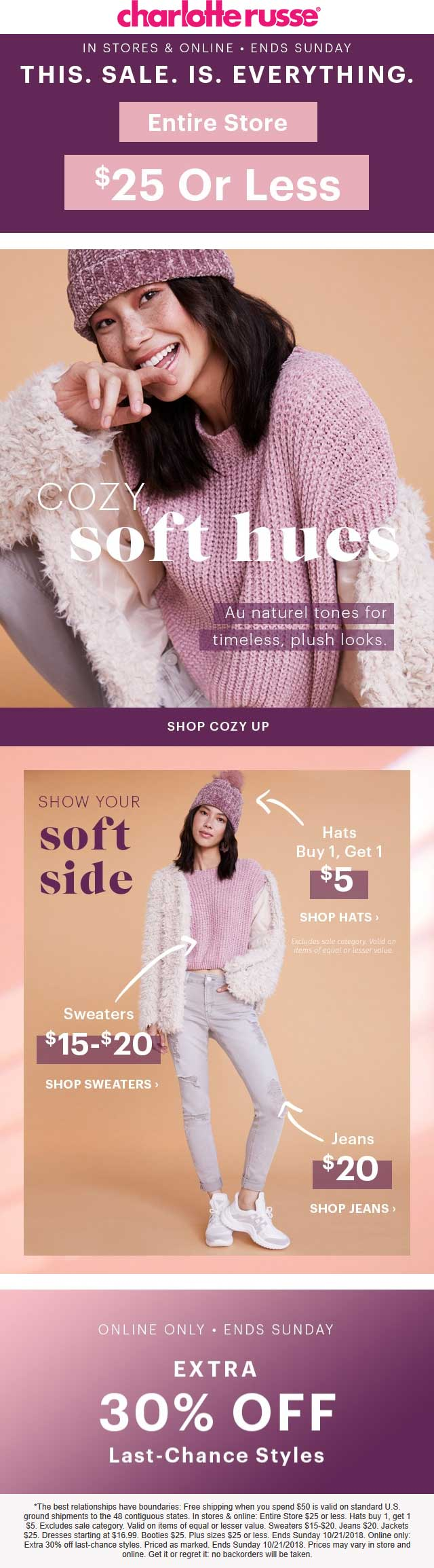 CharlotteRusse.com Promo Coupon Entire store under $26 at Charlotte Russe, ditto online