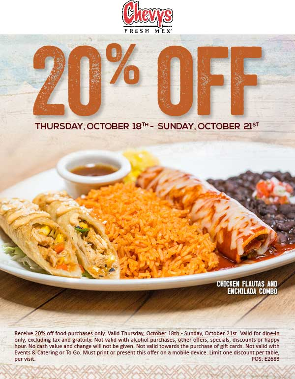Chevys Coupon March 2019 20% off at Chevys Fresh Mex restaurants