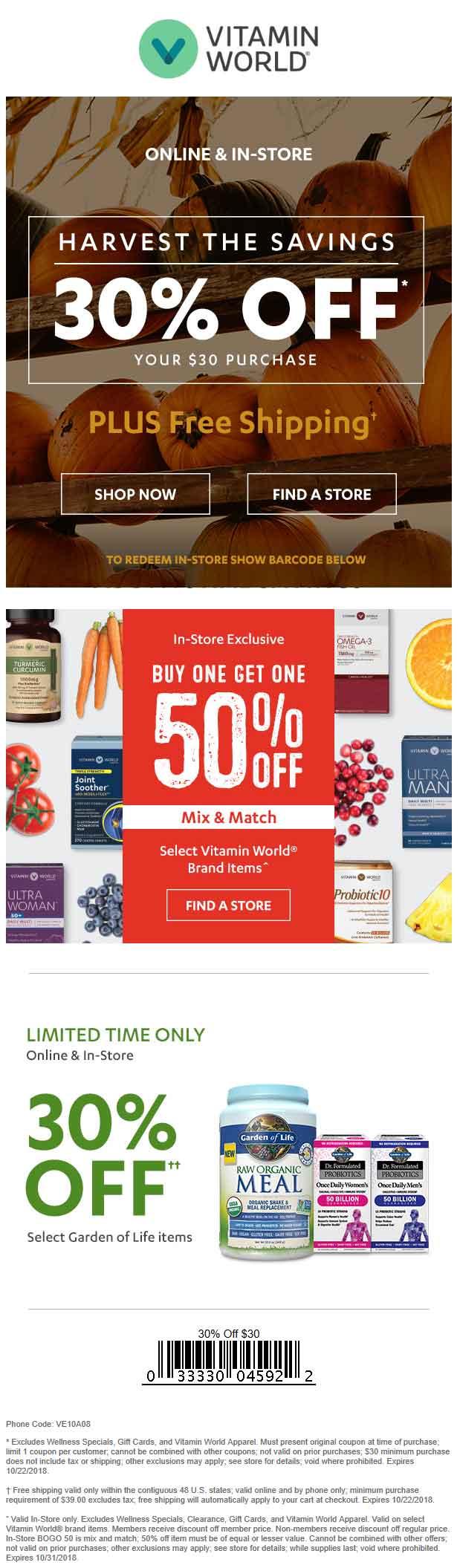 Vitamin World Coupon September 2019 30% off $30 at Vitamin World, or online via promo code VE10A08
