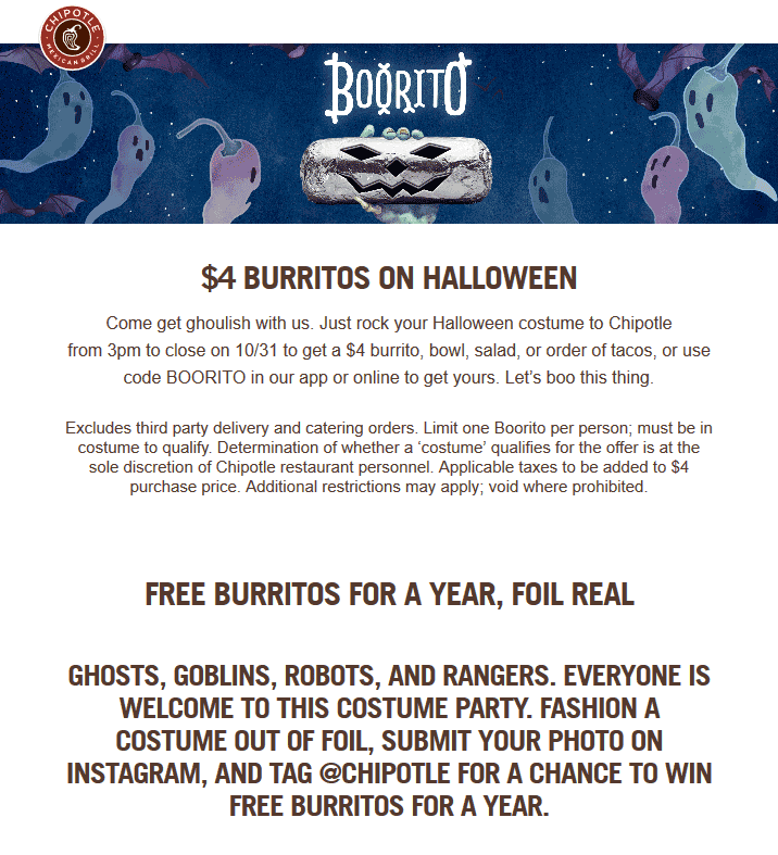 Chipotle Coupon May 2019 $4 burritos on Halloween at Chipotle restaurants