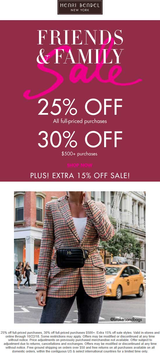 Henri Bendel Coupon January 2020 20-30% off & more at Henri Bendel, ditto online