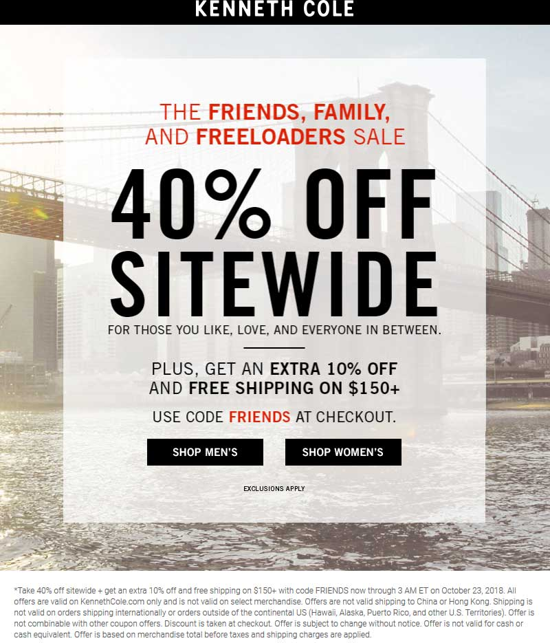 Kenneth Cole Coupon July 2019 40-50% off everything online at Kenneth Cole via promo code FRIENDS