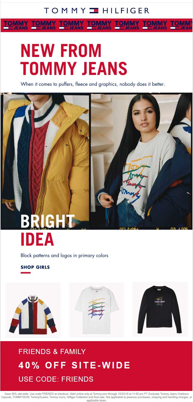 Tommy Hilfiger Coupon July 2019 40% off everything online at Tommy Hilfiger via promo code FRIENDS
