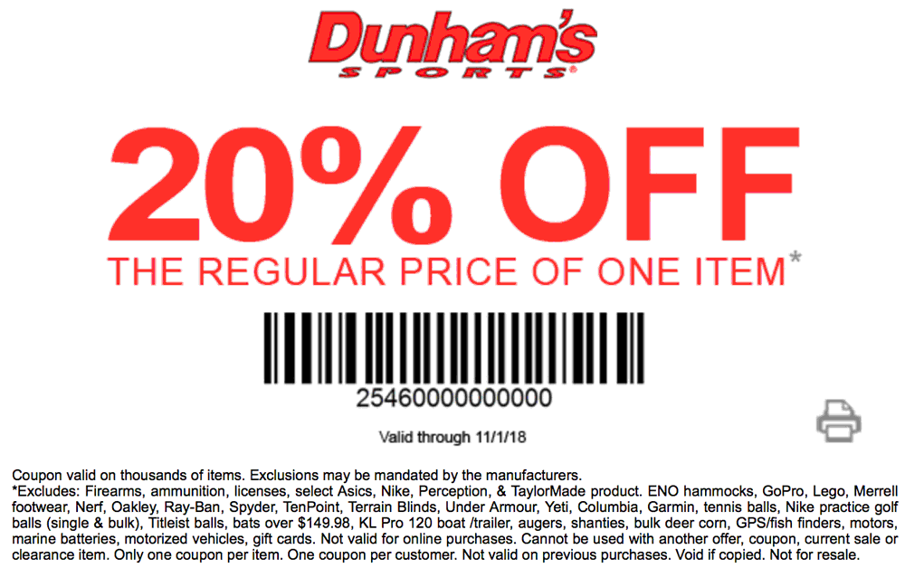 Dunhams Sports Coupon December 2019 20% off a single item at Dunhams Sports