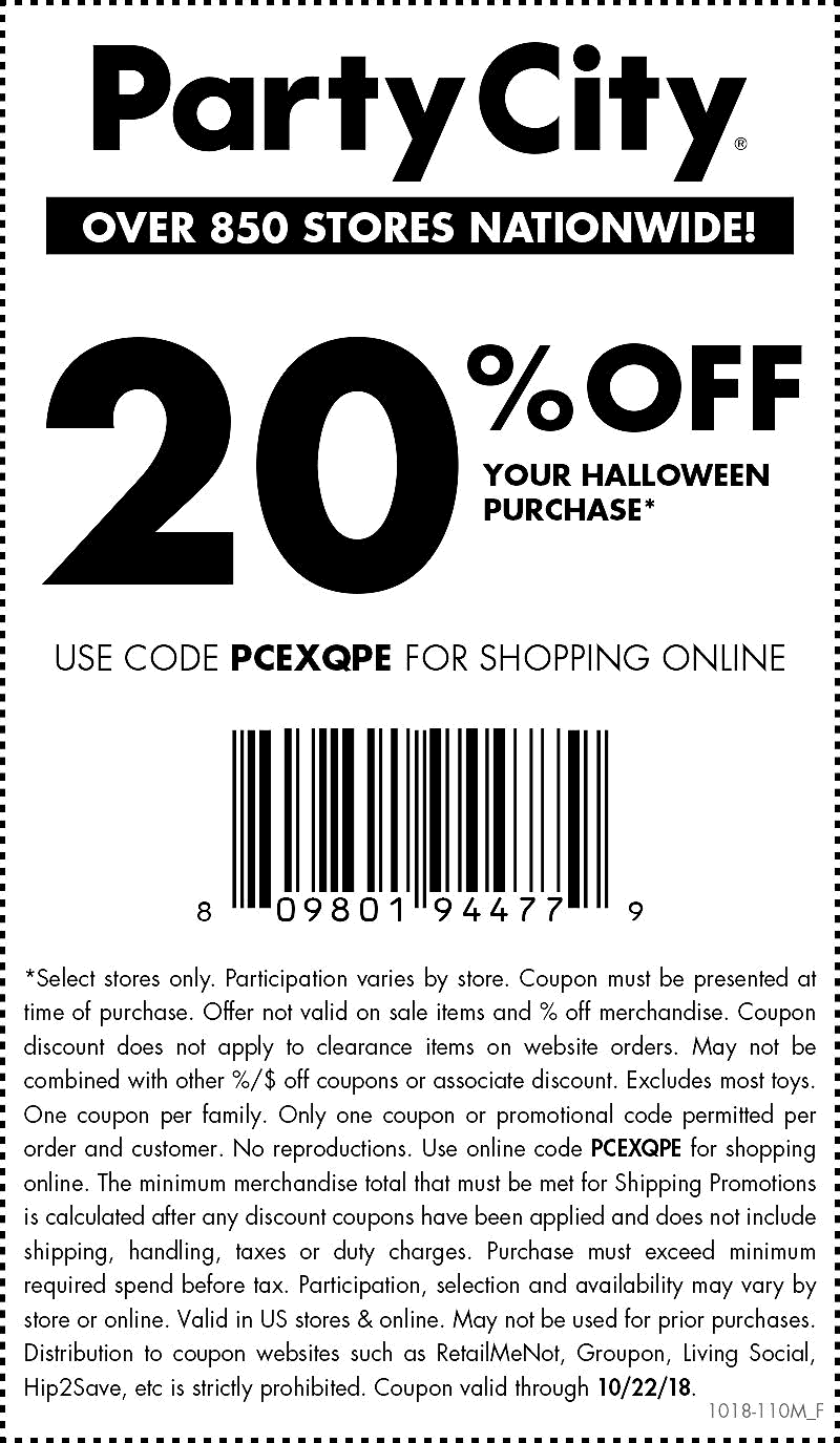Party City Coupon January 2019 20% off Halloween today at Party City, or online via promo code PCEXQPE