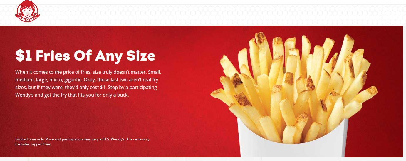 Wendys Coupon July 2019 $1 large fries at Wendys restaurants