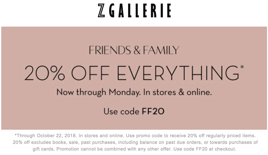 Z Gallerie Coupon November 2019 20% off everything today at Z Gallerie, or online via promo code FF20