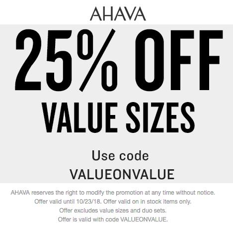 AHAVA Coupon May 2019 25% off value sizes today at AHAVA via promo code VALUEONVALUE