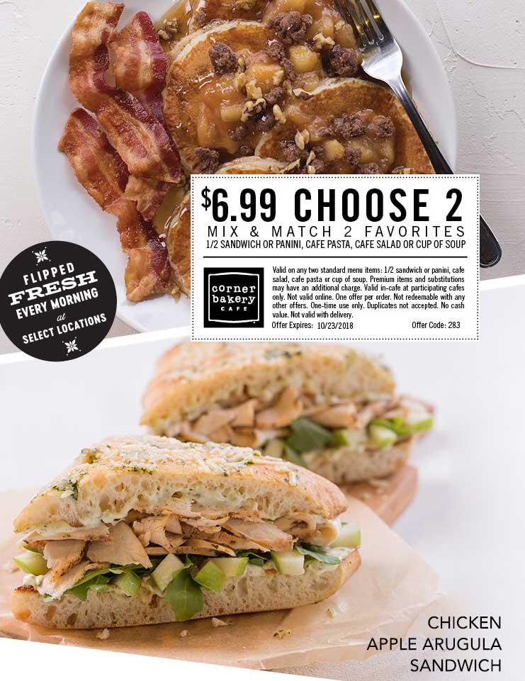 Corner Bakery Coupon July 2019 $7 choose 2 today at Corner Bakery Cafe restaurants