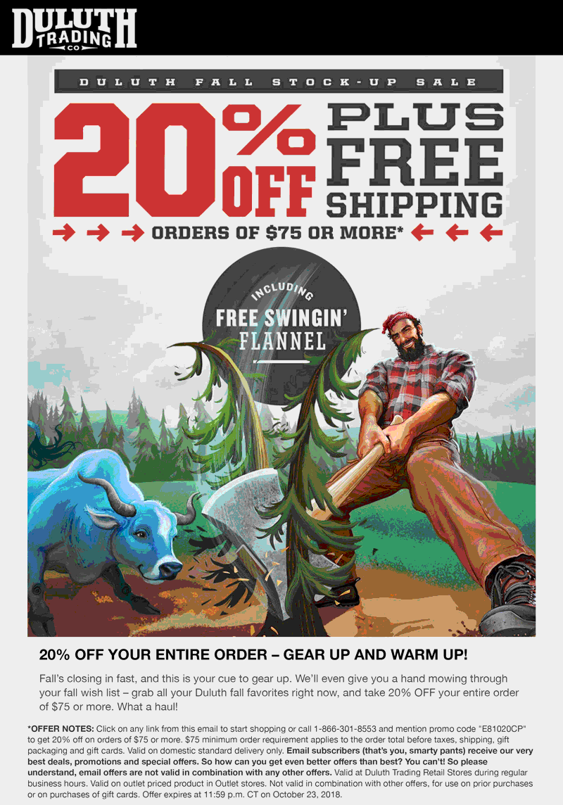 Duluth Trading Co Coupon November 2019 20% off $75 online today at Duluth Trading Co via promo code GHOSTS