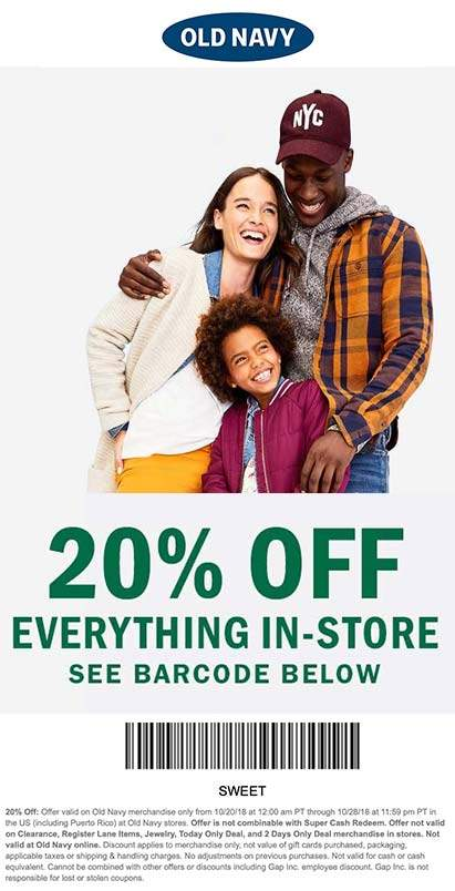 Old Navy Coupon December 2019 20% off everything at Old Navy