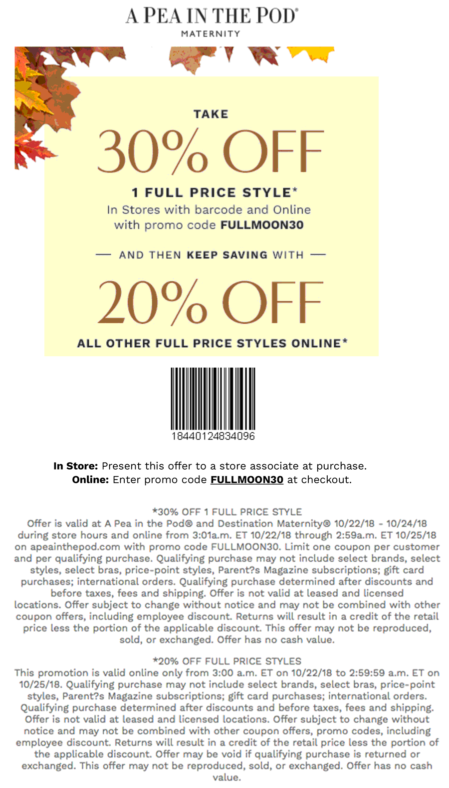 A Pea in the Pod Coupon November 2019 20-30% off at A Pea in the Pod maternity, or online via promo code FULLMOON30