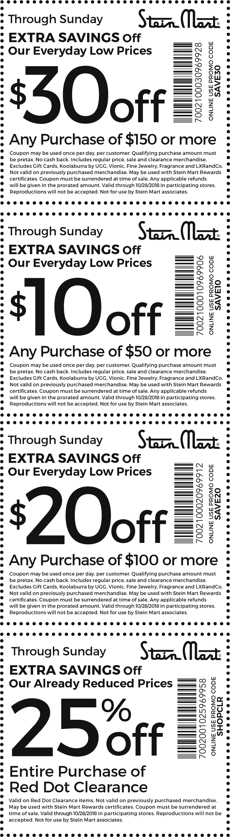Stein Mart Coupon September 2019 $10 off $50 & more at Stein Mart, or online via promo code SAVE10