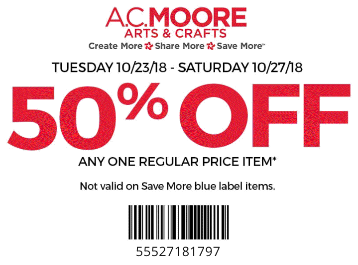 A.C. Moore Coupon January 2020 50% off a single item at A.C. Moore