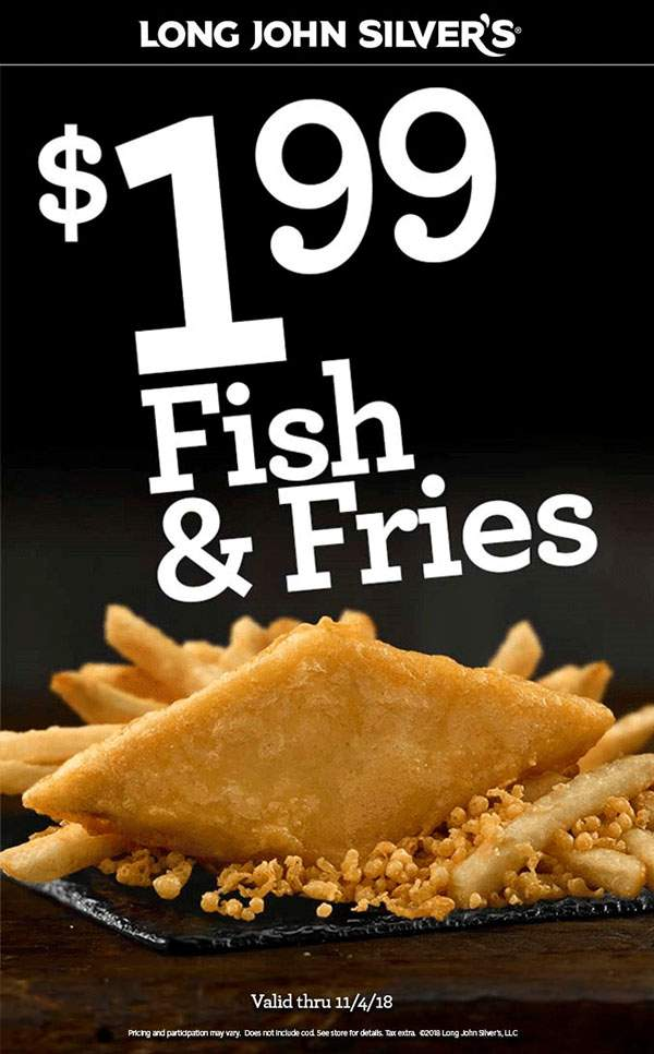 Long John Silvers Coupon November 2019 $2 fish & fries at Long John Silvers restaurants