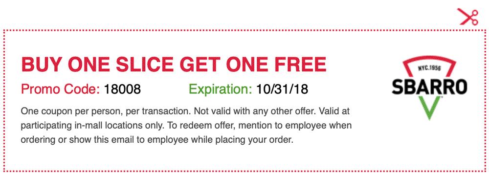 Sbarro Coupon November 2019 Second pizza slice free at Sbarro