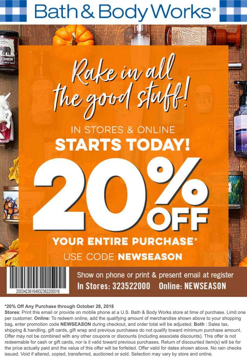 Bath & Body Works Coupon January 2020 20% off at Bath & Body Works, or online via promo code NEWSEASON