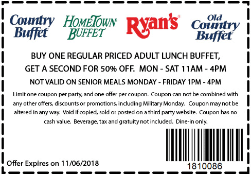 Hometown Buffet Coupon May 2019 Second lunch 50% off at Ryans, HomeTown Buffet & Old Country Buffet