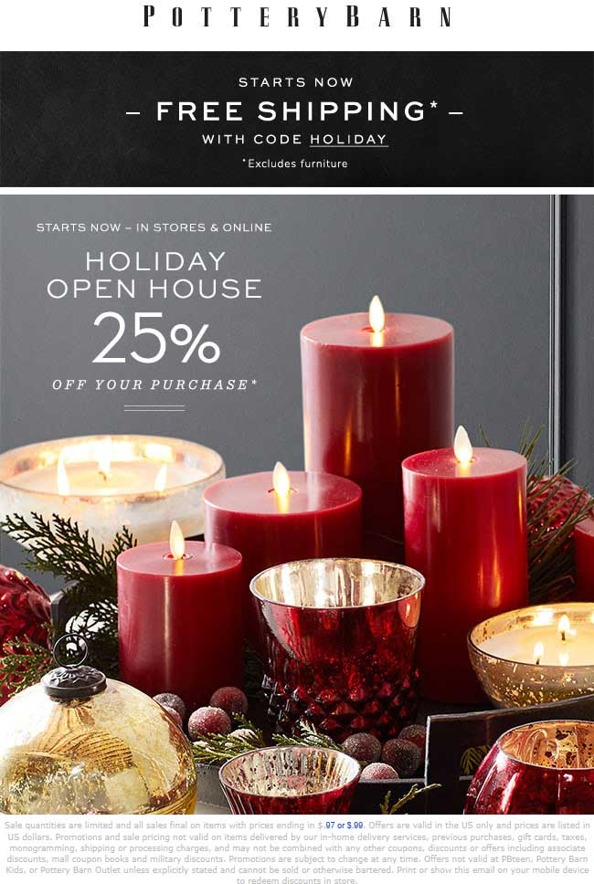 Pottery Barn Coupon November 2019 25% off at Pottery Barn, or online with free shipping via promo HOLIDAY