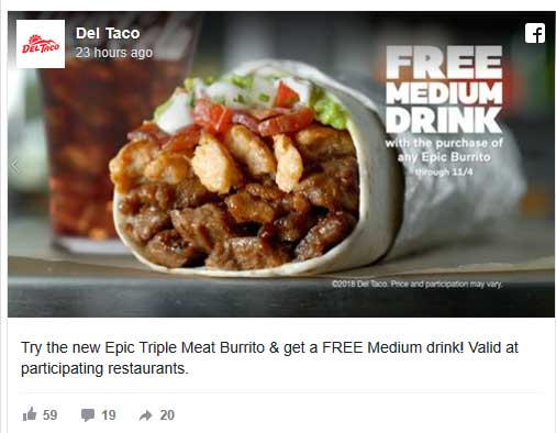 DelTaco.com Promo Coupon Free drink with your burrito at Del Taco